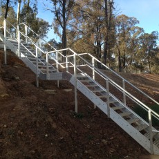Aluminium Stairs with handrail / guardrail - Universal Height Safety