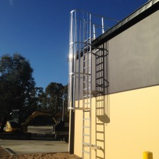 Vertical Aluminium Caged Ladder for safe roof access - Universal Height Safety