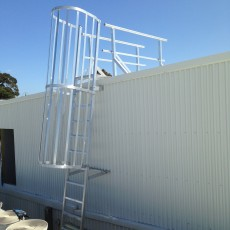 Aluminium Caged Ladder for safe roof access - Universal Height Safety